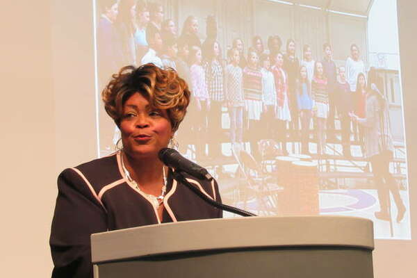 Lovejoy Memorial President Patricia King addresses guests Friday night at the annual Lovejoy dinner. Honmorees included James Killion III and Joanne B. Adams