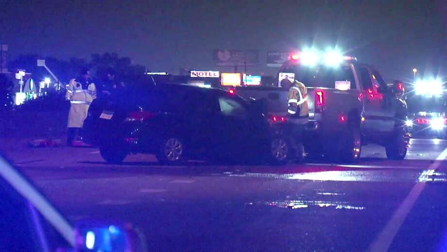 A drunk driver allegedly slammed his car into a police cruiser in the early morning hours Saturday near the North Freeway and West Road. Photo: Metro Video Services