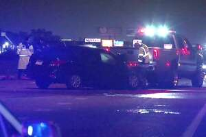 A drunk driver allegedly slammed his car into a police cruiser in the early morning hours Saturday near the North Freeway and West Road.