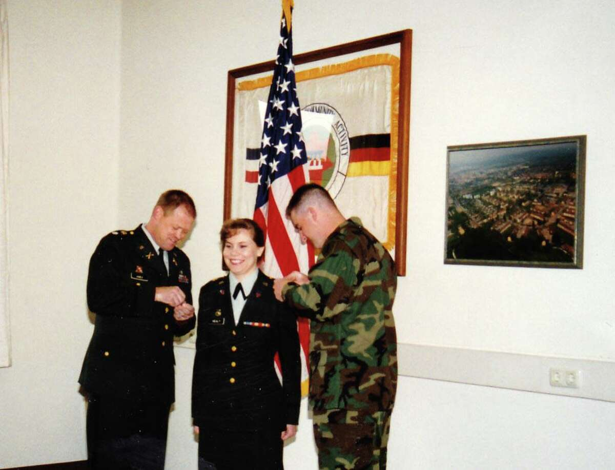 Bess Healy, senior vice president of strategy and transformation at Stamford-based consumer financial-services firm Synchrony served in the U.S. Army from 1994 to 2001, reaching the rank of captain. She is seen here, during her stationing in Germany, being promoted from second lieutenant to first lieutenant.