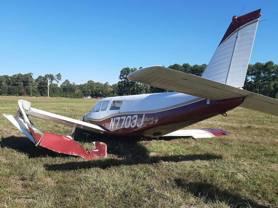 A single-engine airplane crashed Saturday morning in an open field just north of the Grand Parkway, but the pilot was able to walk away with only minor injuries, officials said. Photo: HCSOTexas