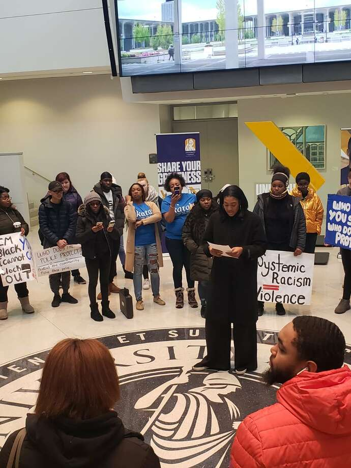 On Fri, Nov. 8, 2019, students at University at Albany protest use of force by police during arrest at Campus Center. Photo: Courtesy Of Katal Center