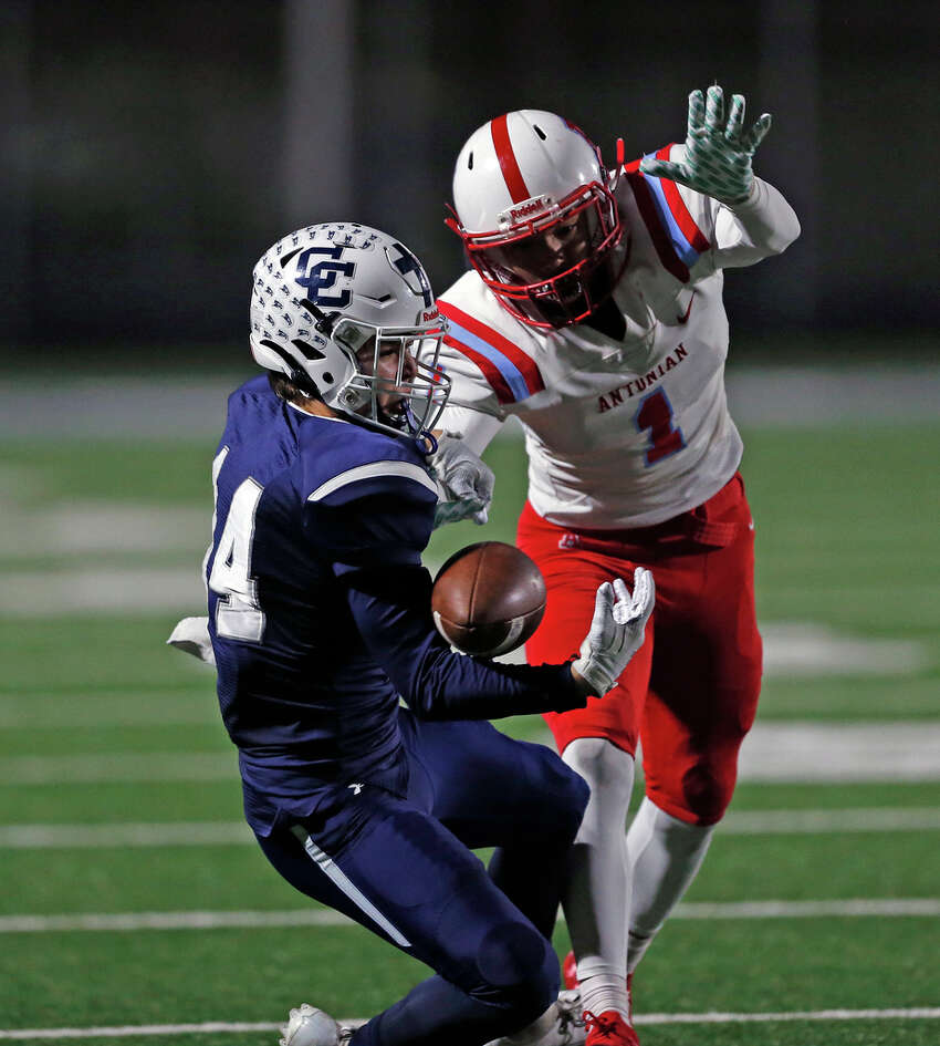 Central Catholic wide receiver Zach Yount circus reception in front of Antonian Caleb Castro set up a touchdown on Friday, November 8, 2019 at Bob Benson Stadium. Final score was Antonian 41- Central 38