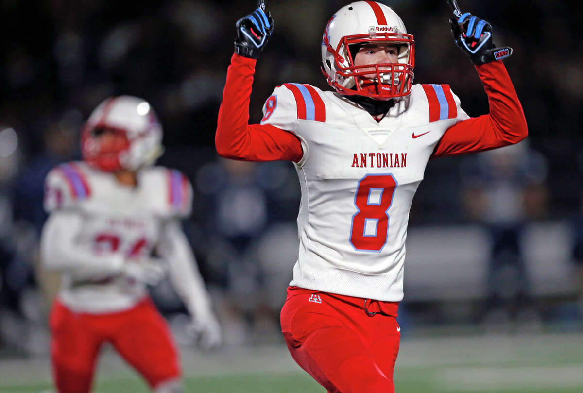Antonian Aidan O'Connell begins to celebrate with his team after a missed field goal to end the game on Friday, November 8, 2019 at Bob Benson Stadium. Final score was Antonian 41- Central 38