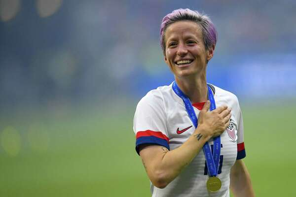 U.S. team member Megan Rapinoe celebrates the victory after the 2019 Women's World Cup football final match between USA and the Netherlands, on July 7, 2019, at the Lyon Stadium in Lyon, France.