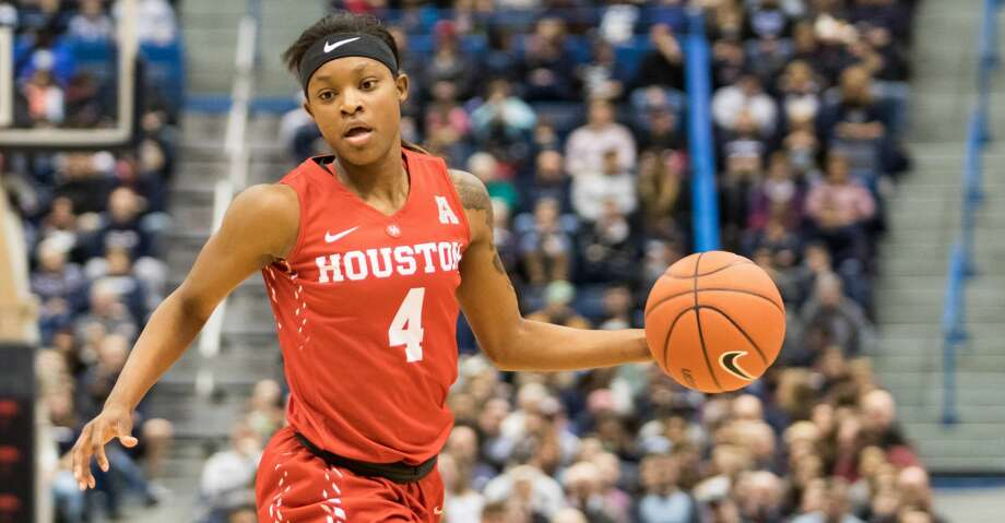 HARTFORD, CT - JANUARY 28: Houston Cougar's Guard Jasmyne Harris (4) in action during the second half a women's NCAA division 1 basketball game  between the Houston Cougars and the UConn Huskies on January 28, 2017, at the XL Center in Hartford, CT. (Photo by David Hahn/Icon Sportswire via Getty Images) Photo: Icon Sportswire/Icon Sportswire Via Getty Images