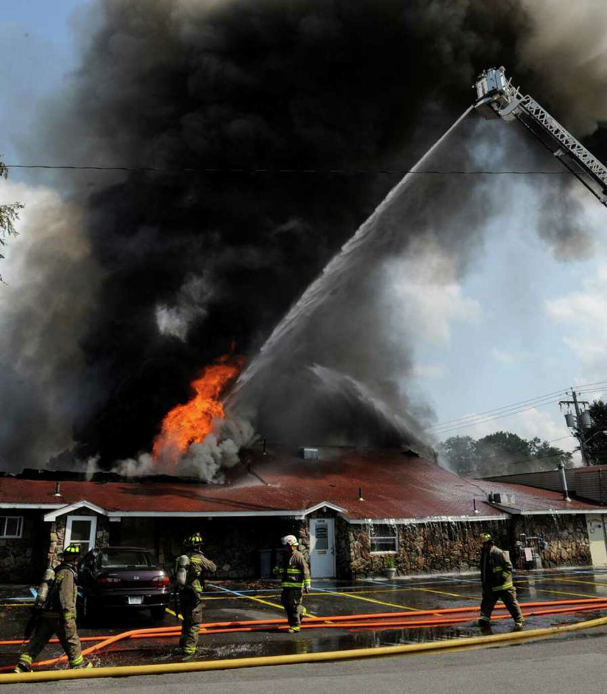 Fire companies from throughout Schenectady County fight a fire on Guilderland Avenue in Rotterdam on Tuesday, Aug. 10, 2010. (Skip Dickstein/Times Union)