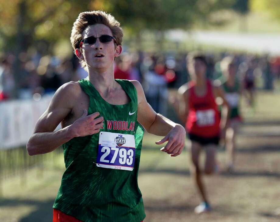 Spencer Cardinal of The Woodlands competes in the Class 6A boys race during the UIL State Cross Country Championships at Old Settlers Park, Saturday, Nov. 9, 2019, in Round Rock. Photo: Jason Fochtman, Houston Chronicle / Staff Photographer / Houston Chronicle