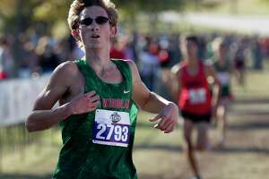 Spencer Cardinal of The Woodlands competes in the Class 6A boys race during the UIL State Cross Country Championships at Old Settlers Park, Saturday, Nov. 9, 2019, in Round Rock.