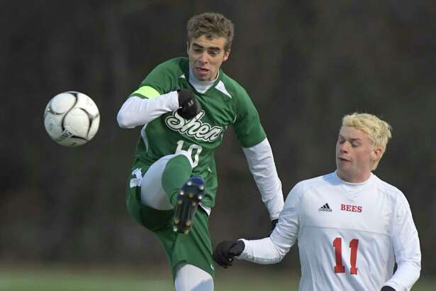 Shenendehowa's Reggie Durden (10) challenges Baldwinsville's Nathan Palmer (11) for the ball during a boysA?• Class AA State quarterfinal high school soccer game Saturday, November 9, 2019, in Colonie, N.Y. (Hans Pennink / Special to the Times Union)