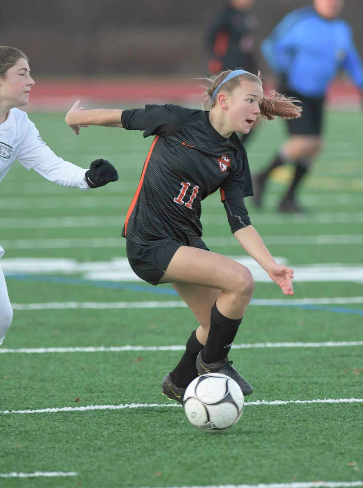 Bethlehem's Claire Hutton (11) moves the ball against Fayetteville-Manlius during a girls' Class AA State quarterfinal high school soccer game Saturday, November 9, 2019, in Mechanicville, N.Y. (Hans Pennink / Special to the Times Union)