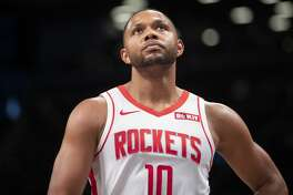 Houston Rockets guard Eric Gordon reacts during the first half of an NBA basketball game against the Brooklyn Nets, Friday, Nov. 1, 2019, in New York. (AP Photo/Mary Altaffer)