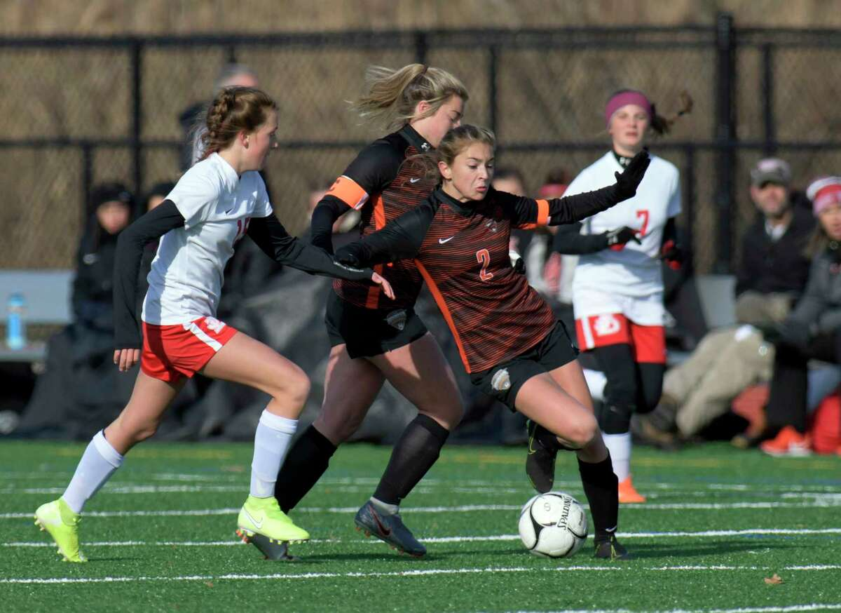 Mohonasen's Liv Raucci (2) moves the ball against Jamesville-DeWitt during a girlsA?• Class A State quarterfinal high school soccer game Saturday, November 9, 2019, in Mechanicville, N.Y. Jamesville-DeWitt won after 3-2 shoot-out to advance. (Hans Pennink / Special to the Times Union)