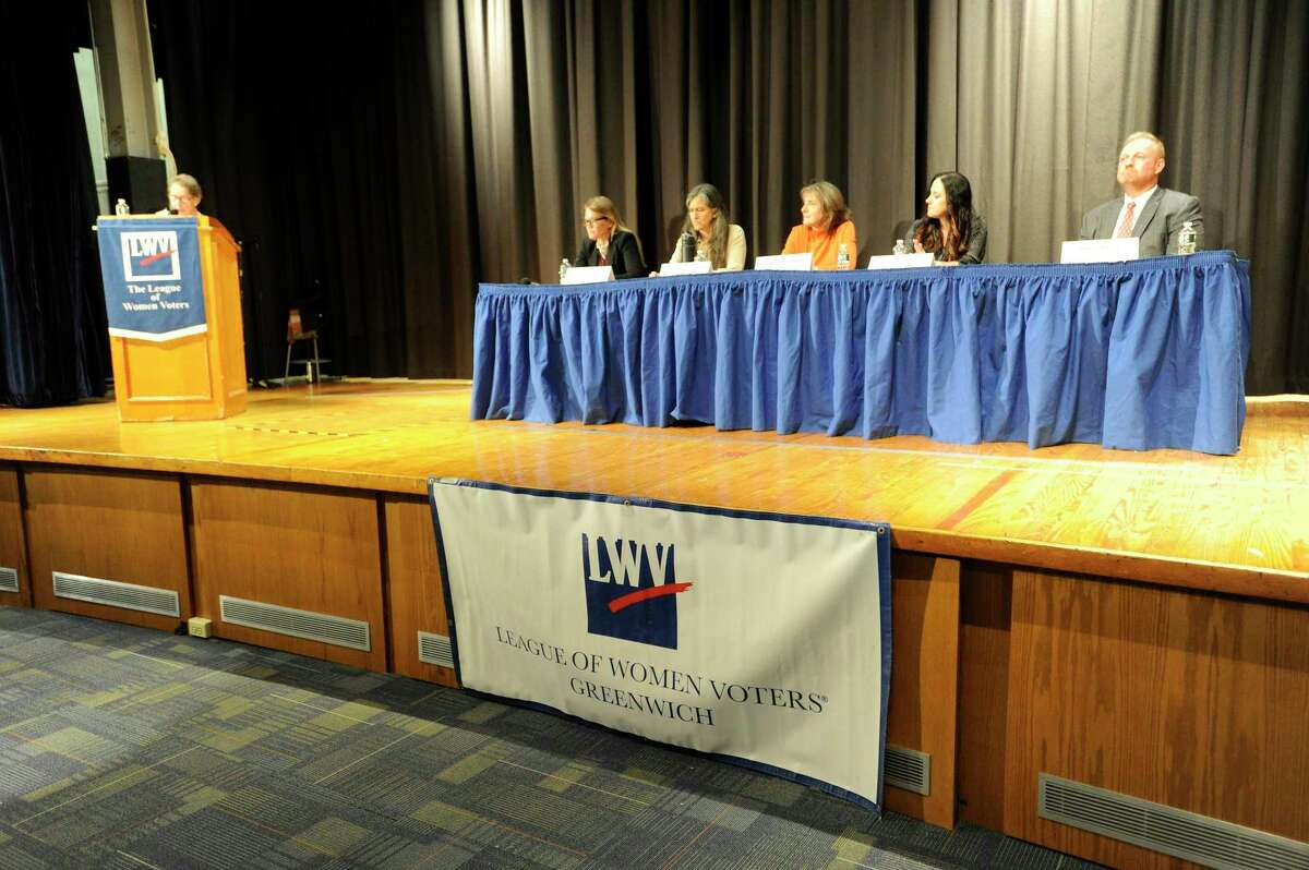 Candidates square off to answer questions during the Greenwich League of Women Voters Board of Education forum at Central Middle School on Oct. 15, 2019 in Greenwich, Connecticut.