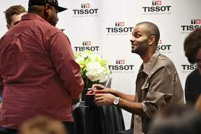 Retired San Antonio Spurs point guard Tony Parker greets fans as a Tissot Brand Ambassador at Dillard's in North Star Mall on Saturday, Nov. 9, 2019.