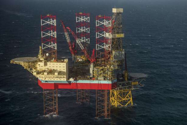 The Maersk Invincible rig, operated by Maersk Drilling Services, stands in the Valhall field in the North Sea off the coast of Stavanger, Norway, on Oct. 9, 2019.