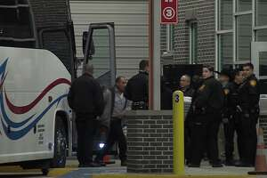 A charter bus en-route to Dallas was shot at as it entered San Antonio city limits on Interstate 35 Sunday morning, Nov. 11, 2019, according to San Antonio police. One woman was struck in the head and transported to University Hospital in serious condition.