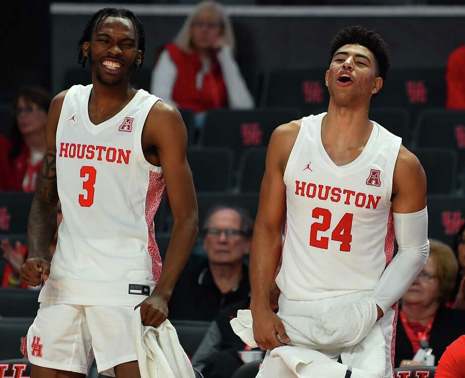 Houston guard DeJon Jarreau (3) and Houston guard Quentin Grimes cheer from the sideline during the second half of an NCAA exhibition college basketball game against Angelo State, Saturday, Nov. 9, 2019, in Houston. Photo: Eric Christian Smith / Contributor / Houston Chronicle