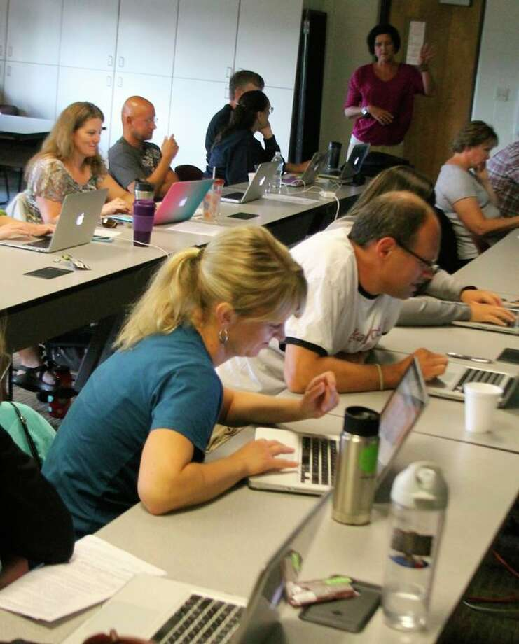 The Manistee Intermediate School District always is providing professional development assistance to area teachers like shown above. This year they are trying something new with an online book study that give more flexibility in when the teachers take part and they don't even have to live in Manistee to be a part of it. (File photo)