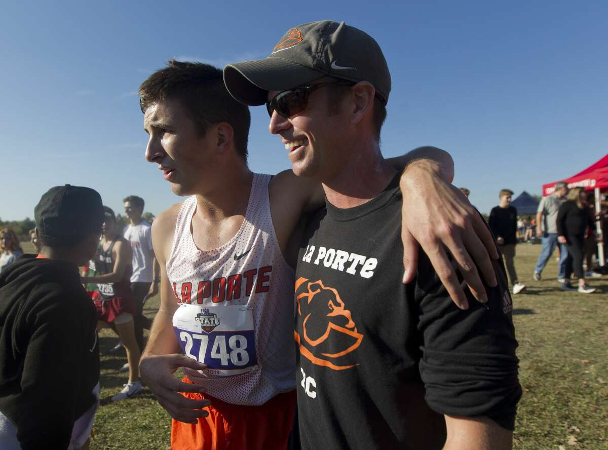 Ryan Schoppe of La Porte is seen after winning the Class 6A boys race during the UIL State Cross Country Championships at Old Settlers Park, Saturday, Nov. 9, 2019, in Round Rock. Schoppe broke the Class 6A record with his run in 14 minutes and 14.02 seconds.