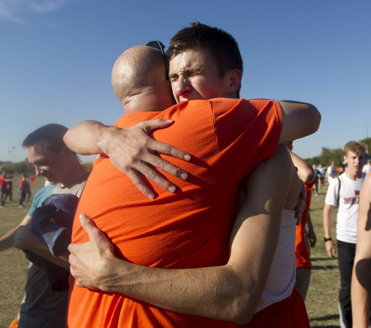 Ryan Schoppe of La Porte reacts after winning the Class 6A boys race during the UIL State Cross Country Championships at Old Settlers Park, Saturday, Nov. 9, 2019, in Round Rock. Schoppe broke the Class 6A record with his run in 14 minutes and 14.02 seconds.