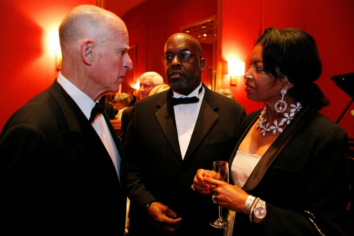 Bernard and Denise Bradley Tyson chat with California Governor Jerry Brown during the Black and White Ball celebrating the 100th Anniversary of the San Francisco Symphony on Saturday, June 2, 2012.