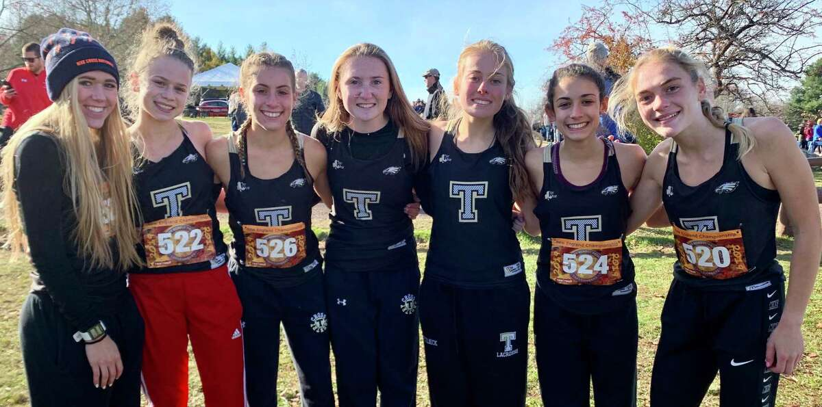 Kali Holden, Keira Grant, Alessandra Zaffina, Megan Becker, Rebecca Margolnick, Evelyn Marchand and Emily Alexandru led Trumbull to a school-best fifth-place finish at the New England Championships.