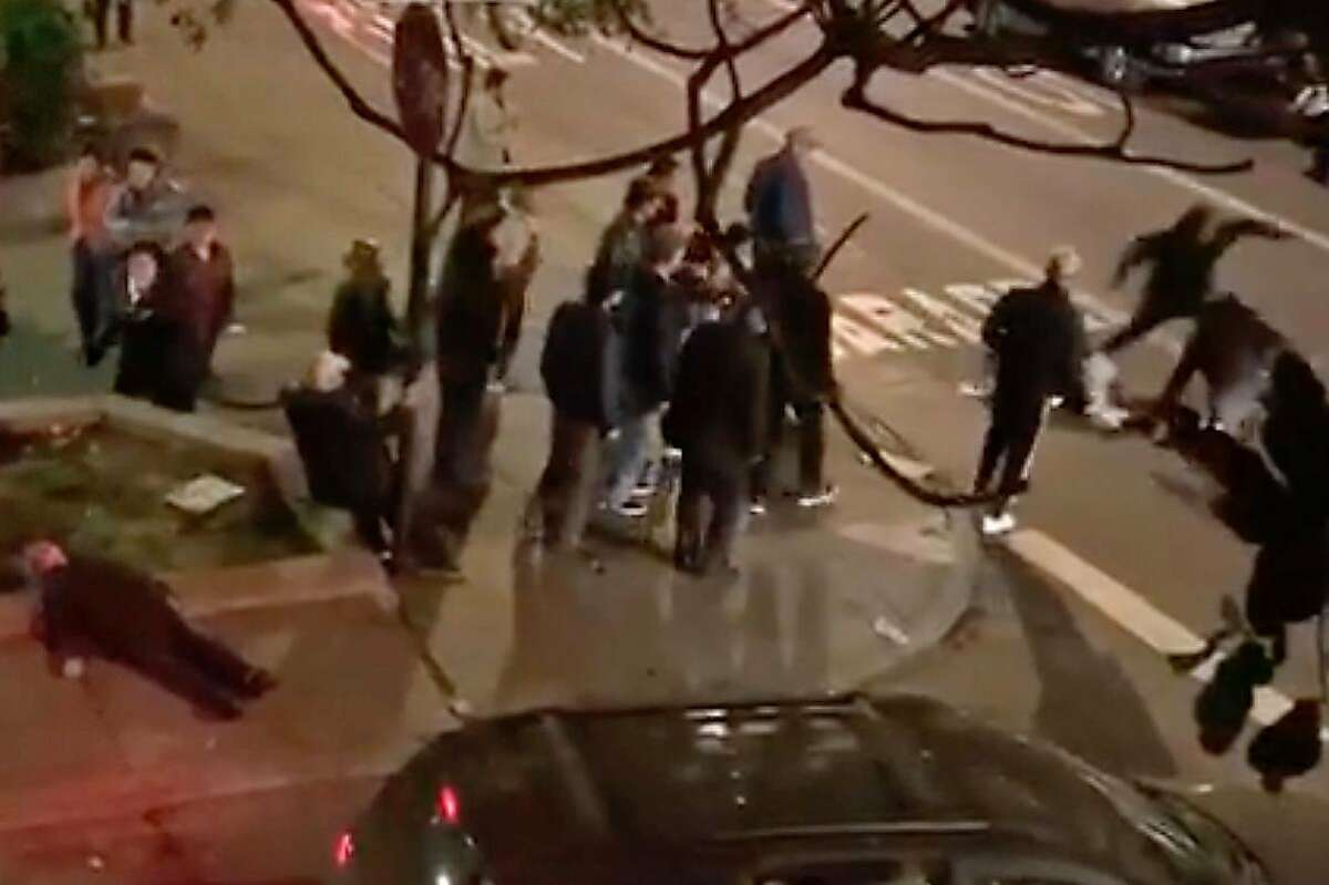 Vicious beatings in San Francisco�s Chinatown on Saturday, November 9, 2019 captured on video sent two men to the hospital over the weekend as police seek four suspects who fled the scenes in a dark SUV.