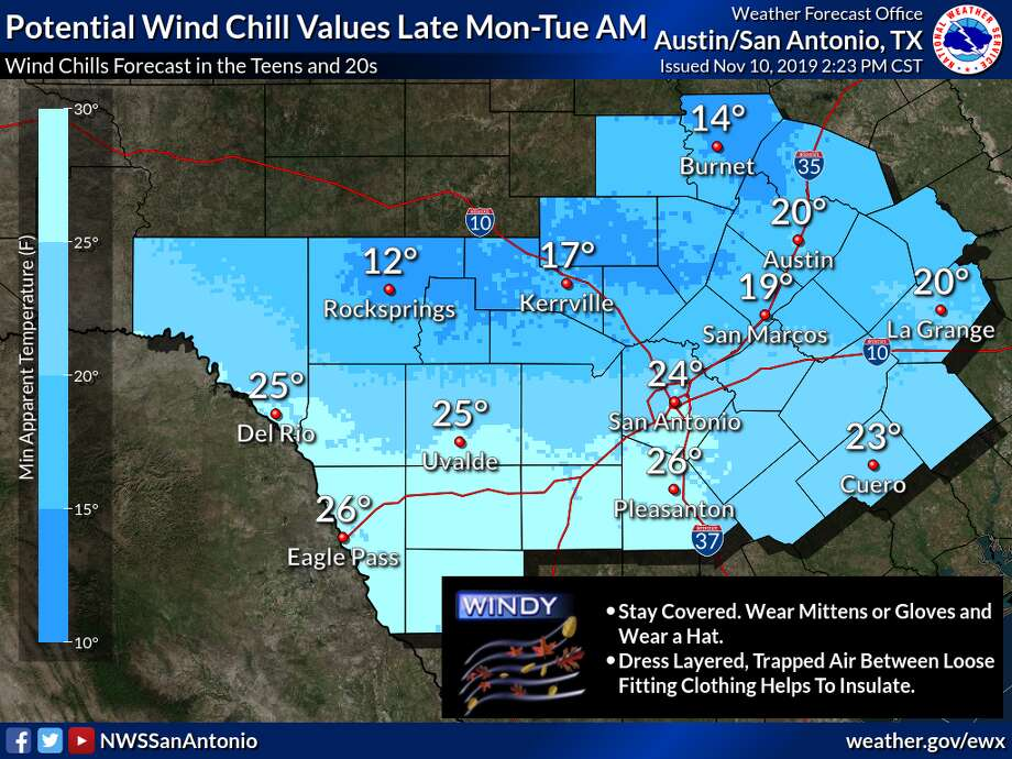 A very strong cold front will move across the region on Monday afternoon bringing a blast of colder air to the region Monday night through Wednesday morning, according to the National Weather Service. Photo: Courtesy National Weather Service