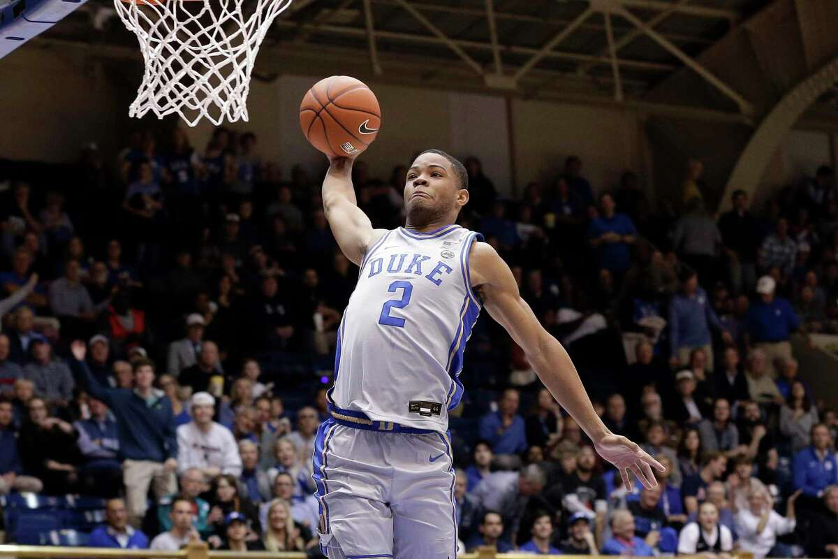 Duke guard Cassius Stanley (2) drives for a dunk against Colorado State during the second half on Friday in Durham, N.C.
