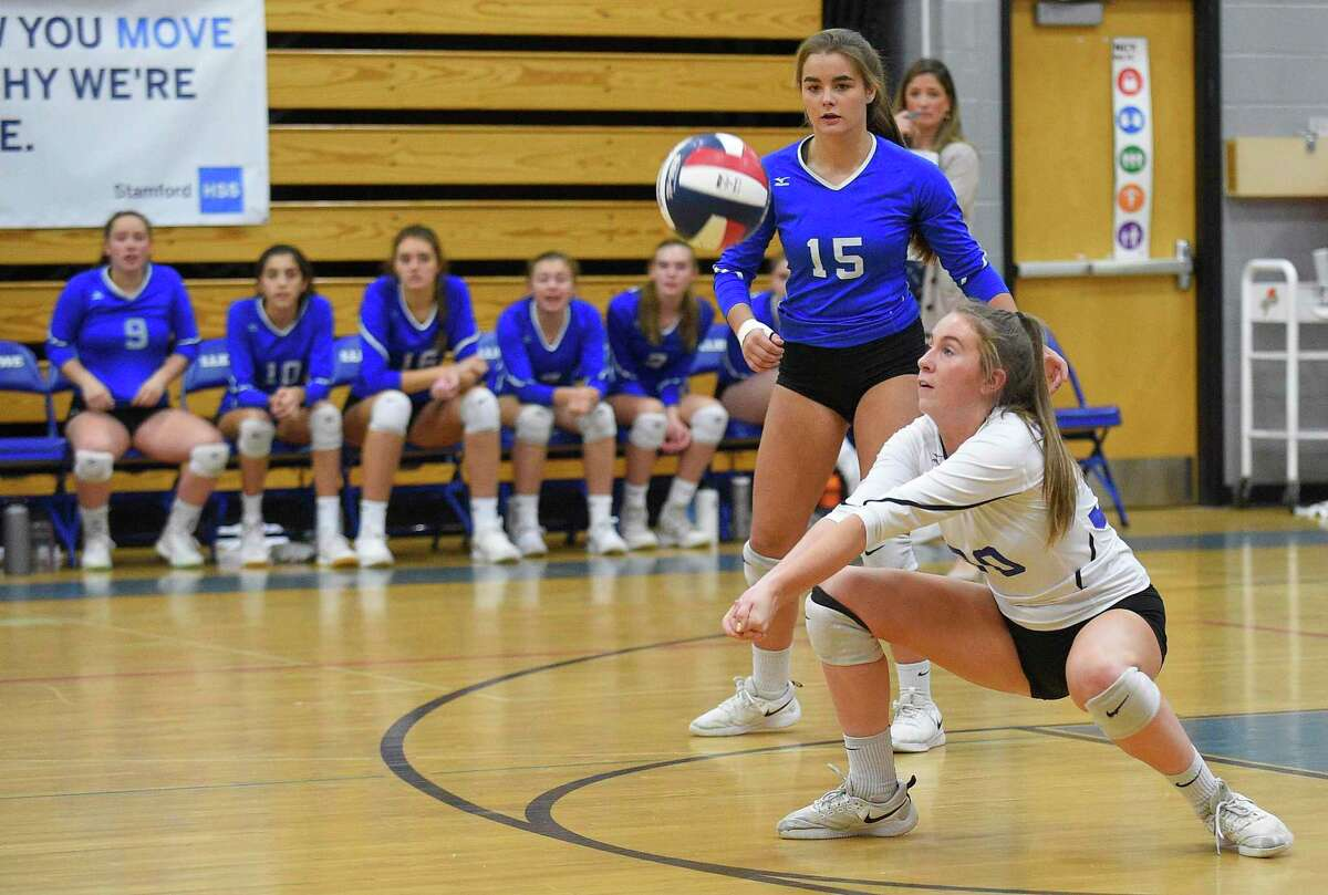 Ludlowe's Margaret Nolan (30) makes one of her 40 digs during the FCIAC volleyball final on Nov. 9, 2019. Ludlowe defeated Westhill 3-2 and Nolan was named MVP.