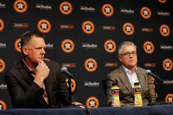 Astros Jeff Luhnow, president of baseball operations speaks to the media during a press conference as manager AJ Hinch listened at Minute Maid Park, Friday, Nov. 1, 2019, in Houston.