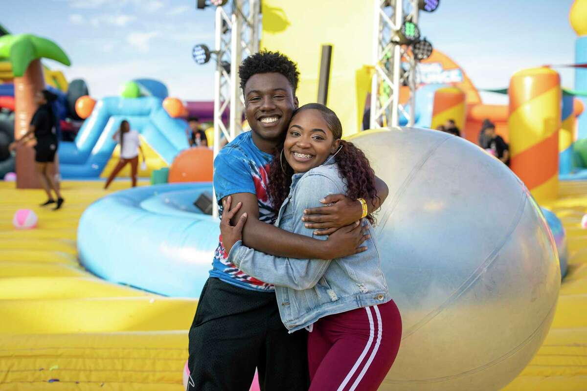 Attendees inside The Big Bounce American inflatable in south Houston, Sunday, Nov. 10, 2019. Participants were able to enjoy the adult only environment.