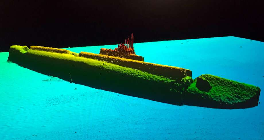 A sonar image of the U.S.S. Grayback lying at a depth of 1,400 feet. Mr. Taylor's team located the wreck by using an autonomous underwater vehicle to gather sonar data from a few hundred feet above the sea floor. Photo: Tim Taylor/lost52 Project, NYT