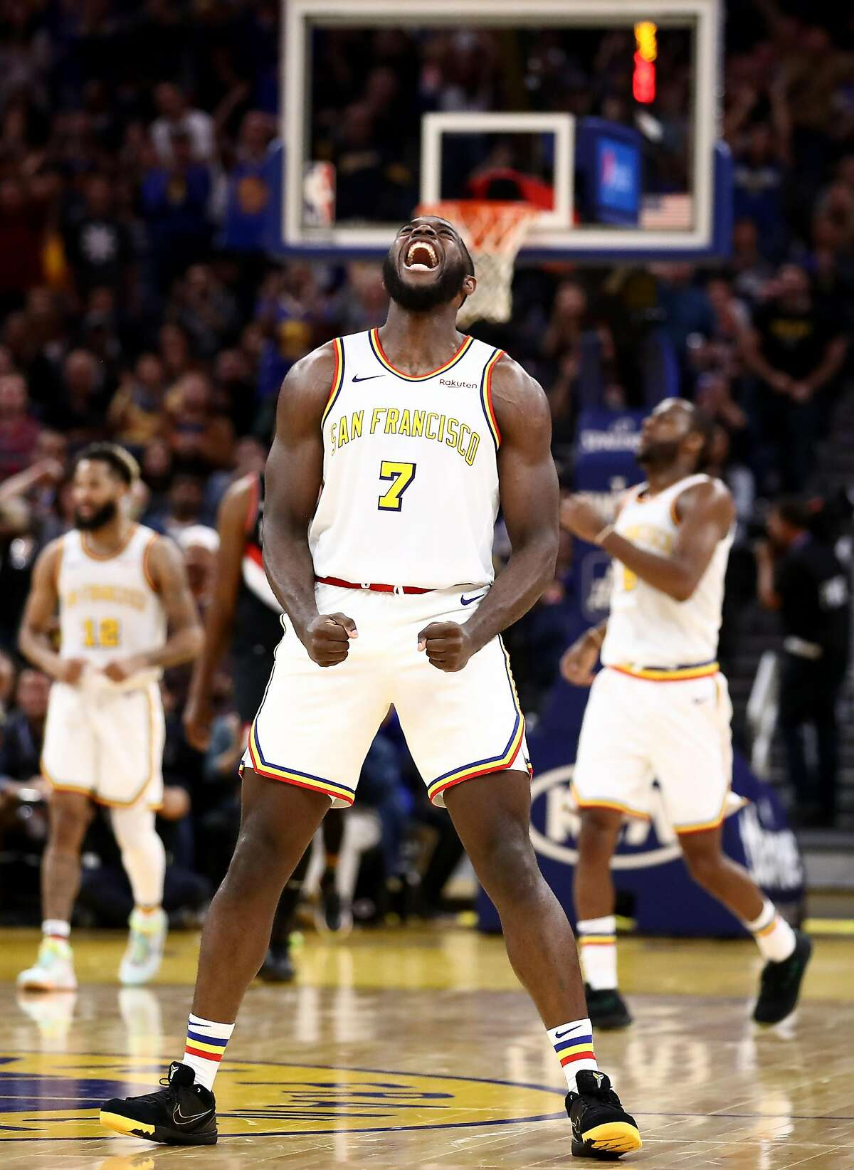 SAN FRANCISCO, CALIFORNIA - NOVEMBER 04: Eric Paschall #7 of the Golden State Warriors reacts during their game against the Portland Trail Blazers at Chase Center on November 04, 2019 in San Francisco, California. NOTE TO USER: User expressly acknowledges and agrees that, by downloading and or using this photograph, User is consenting to the terms and conditions of the Getty Images License Agreement. (Photo by Ezra Shaw/Getty Images)