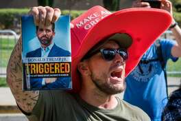 A supporter of President Trump yells at counter protesters outside a book promotion by Donald Trump Jr. at the UCLA campus in Westwood, California on November 10, 2019. (Photo by Mark RALSTON / AFP) (Photo by MARK RALSTON/AFP via Getty Images)