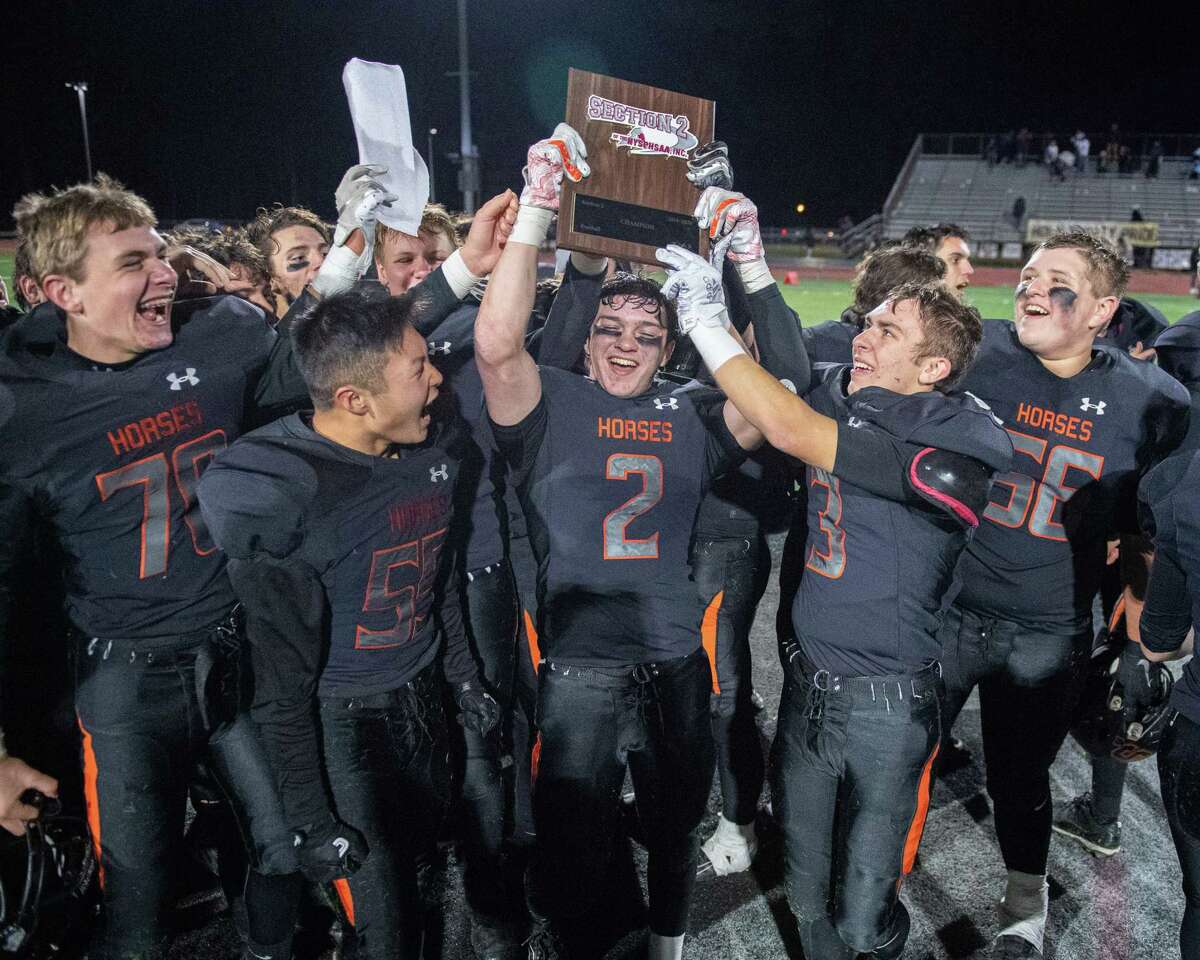 Schuylerville celebrates after beating Holy Trinity in the Section II, Class B Super Bowl at Shenendehowa High School on Saturday, Nov. 9, 2019 (Jim Franco/Special to the Times Union.)