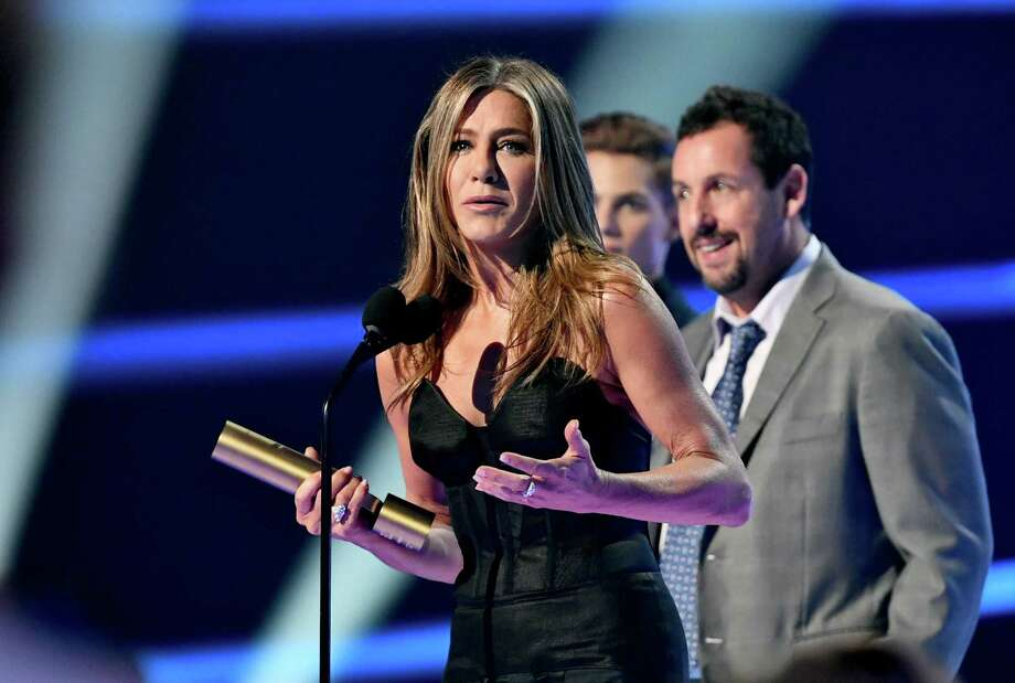 Jennifer Aniston during the 2019 E! People's Choice Awards in Santa Monica, Calif., on Sunday night, after an introduction from her friend Adam Sandler. Photo: E! Entertainment. / 2019 E! Entertainment Media, LLC