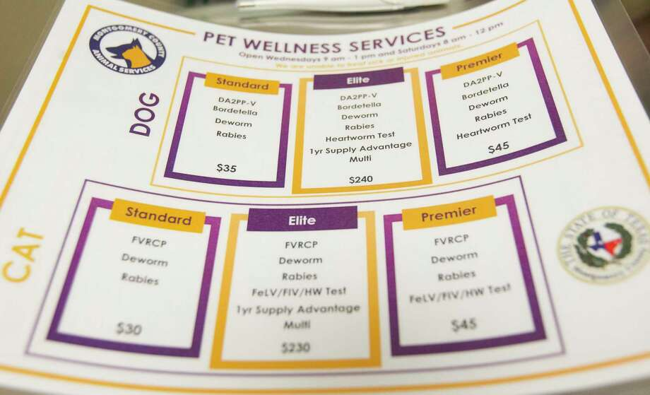 A list of services provided to pet owners at the new basic wellness clinic is seen at the Montgomery County Animal Shelter, Wednesday, Nov. 6, 2019, in Conroe. Photo: Jason Fochtman, Houston Chronicle / Staff Photographer / Houston Chronicle