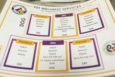 A list of services provided to pet owners at the new basic wellness clinic is seen at the Montgomery County Animal Shelter, Wednesday, Nov. 6, 2019, in Conroe.