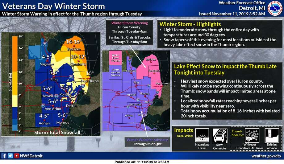 A graphic from the National Weather Service in Detroit details the expected snowfall during a winter storm expected to last through Tuesday. Photo: (Image Provided/National Weather Service)