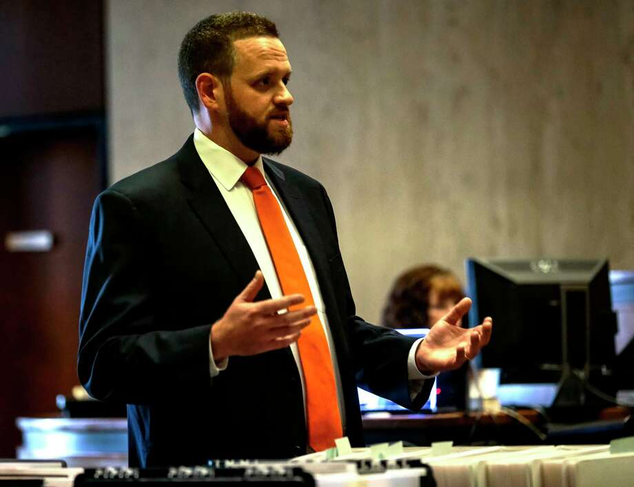In this Wednesday, Oct. 23, 2019 photo, Essex County Assistant Prosecutor Adam B. Wells speaks during opening arguments in the murder trial of alleged serial killer, Khalil Wheeler-Weaver, in Newark, N.J. Wheeler-Weaver is charged with strangling and asphyxiating three women in the fall of 2016. He's also accused in the attempted murder of a fourth woman. (George McNish/NJ Advance Media via AP, Pool) Photo: George McNish, Associated Press / ©2019 NJ Advance Media