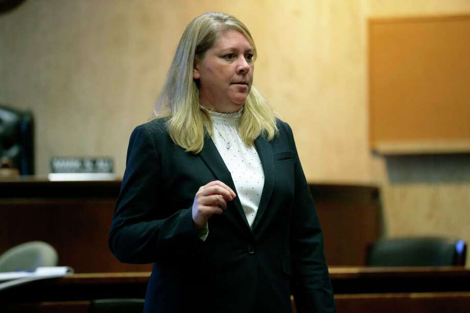 In this Wednesday, Oct. 23, 2019 photo, public defender Deirdre McMahon speaks during opening arguments in the murder trial of alleged serial killer, Khalil Wheeler-Weaver, in Newark, N.J. Wheeler-Weaver is charged with strangling and asphyxiating three women in the fall of 2016. He's also accused in the attempted murder of a fourth woman.   (George McNish/NJ Advance Media via AP, Pool) Photo: George McNish, Associated Press / ©2019 NJ Advance Media
