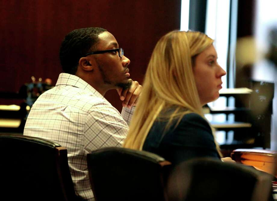 In this Wednesday, Oct. 23, 2019 photo, defendant Khalil Wheeler-Weaver listens to opening arguments during his triple murder trial in Newark, N.J. Wheeler-Weaver is charged with strangling and asphyxiating three women in the fall of 2016. He's also accused in the attempted murder of a fourth woman. (George McNish/NJ Advance Media via AP, Pool) Photo: George McNish, Associated Press / ©2019 NJ Advance Media