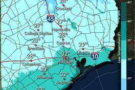 Low temperatures Wednesday morning could be in the 20s for much of the Houston area, while there's a small chance of sleet and snow flurries early Tuesday morning.