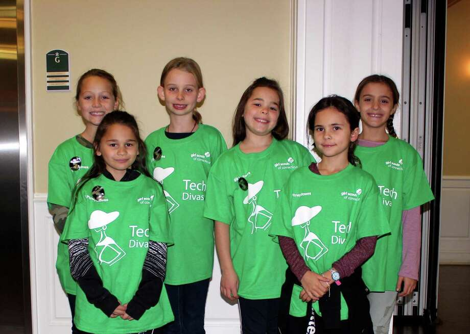 Girl Scout Troop 50530's robotics team, the Tech Divas. Photo: Contributed Photo