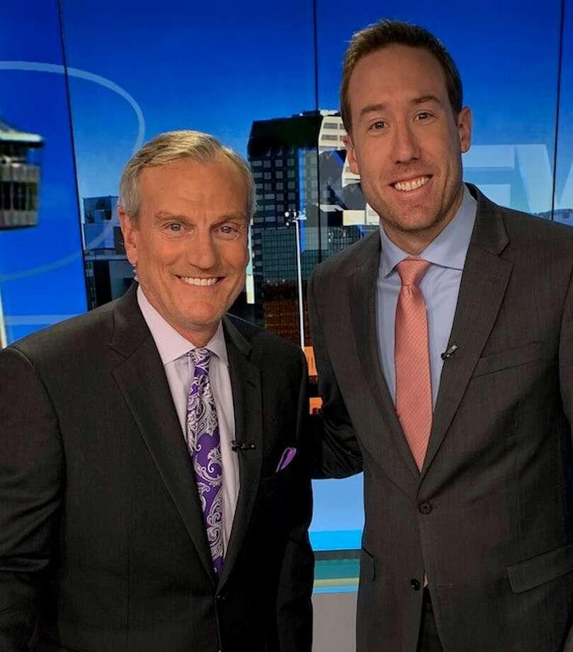 KSAT-12 meteorologist Justin Horne and anchor David Sears participate in No Shave November. Photo: KSAT