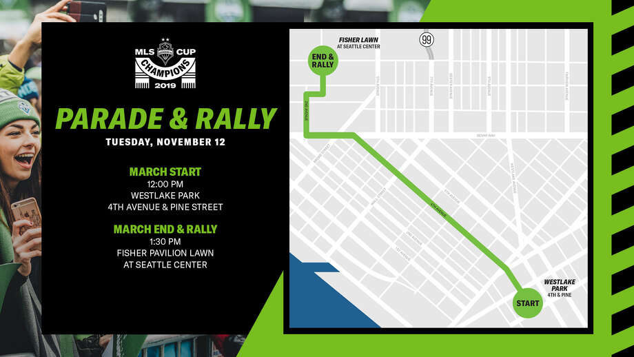 A map shows the Sounders MLS Cup parade route and rally location. Photo: Courtesy Sounders
