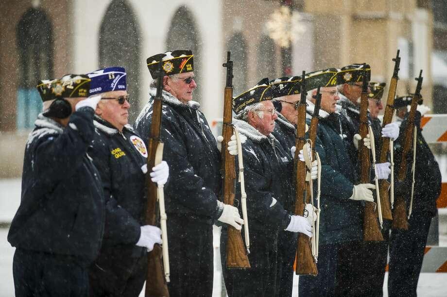 Veterans, their loved ones, public officials and community members gather for a Veterans Day ceremony Monday, Nov. 11, 2019 at the Midland Veterans Memorial. (Katy Kildee/kkildee@mdn.net) Photo: (Katy Kildee/kkildee@mdn.net)