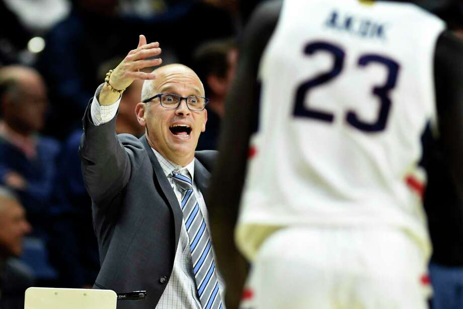 UConn coach Dan Hurley reacts during the second half the Huskies' 89-67 victory over Sacred Heart on Friday in Storrs. Photo: Stephen Dunn / Associated Press / Copyright 2019 The Associated Press. All rights reserved